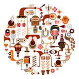 Coffee processing - vector illustration