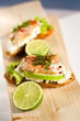 lime and smoked trout on apple crostini