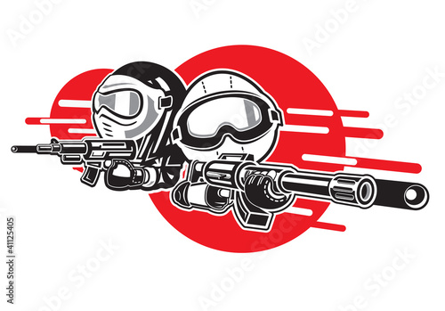 Cartoon Boy and Girl play airsoft guns.