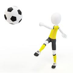 3d man soccer player with ball