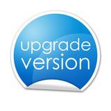 Pegatina con texto upgrade version con reborde poster
