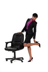 Businesswoman checking her heels