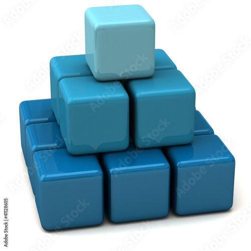 Abstract layered 3d blue business pyramid made of cubes
