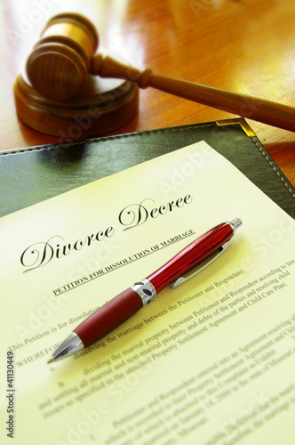 Divorce decree document and court gavel
