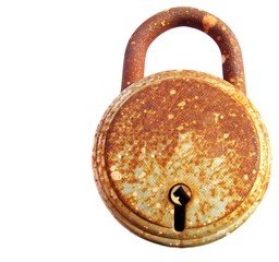 rusted iron lock isolated on white