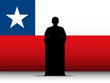 Chile Speech Tribune Silhouette with Flag Background