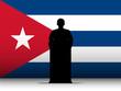 Cuba Speech Tribune Silhouette with Flag Background