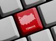 Türkiye - Umriss auf Tastatur