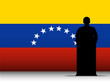 Venezuela Speech Tribune Silhouette with Flag Background