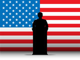 United States of America USA Speech Tribune Silhouette with Flag