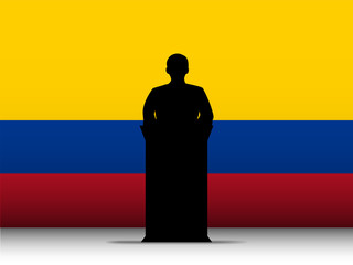 Colombia Speech Tribune Silhouette with Flag Background