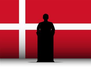 Denmark Speech Tribune Silhouette with Flag Background