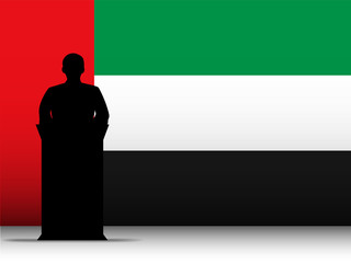 United Arab Emirates Speech Tribune Silhouette with Flag Backgro