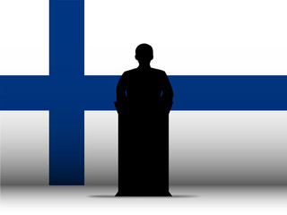 Finland Speech Tribune Silhouette with Flag Background