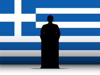 Greece Speech Tribune Silhouette with Flag Background