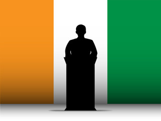Ireland Speech Tribune Silhouette with Flag Background