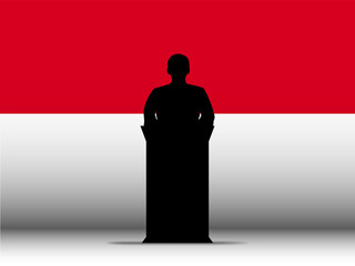 Monaco Speech Tribune Silhouette with Flag Background