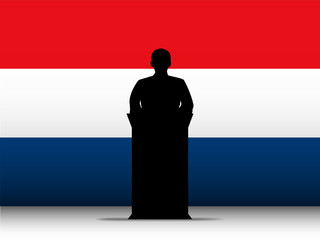 Netherlands Speech Tribune Silhouette with Flag Background