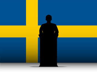 Sweden Speech Tribune Silhouette with Flag Background