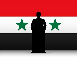 Syria Speech Tribune Silhouette with Flag Background
