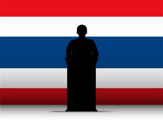 Thailand Speech Tribune Silhouette with Flag Background