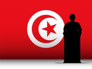Turkey Speech Tribune Silhouette with Flag Background