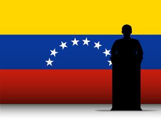 Venezuela Speech Tribune Silhouette with Flag Background