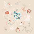 girls are happy. A set of vector elements