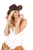 Cowgirl chaps hands face poster