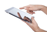 hands holding and point on modern electronic digital frame with
