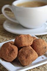 Handmade Chocolate Truffles with coffee