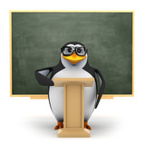 3d Penguin with glasses takes the class