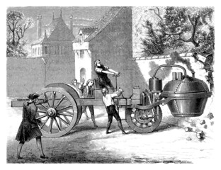 Testing the first Steamcar - Paris Year 1770