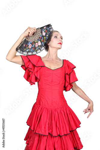 portrait of a woman in flamenco costume