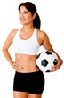 Woman with a soccer ball