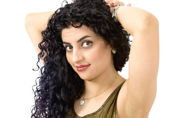 Hair care image with woman holding up unruly hair