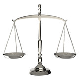 Silver scales of justice isolated on white background.