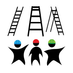 clipart ladders and working