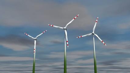 Animierte Windräder mit Wolken