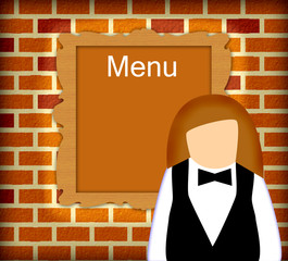 Waitress and menu behind her,isolated on wall made of bricks