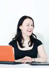 Business woman winking