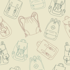 Seamless pattern with cartoon rucksacks