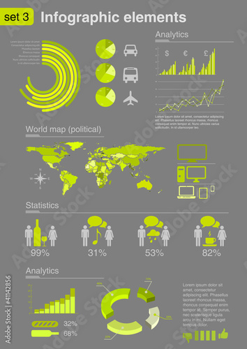 Infographics elements with icons. Innovations, Ecology