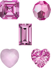 Pink Crystal Vector Illustrations