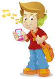School Kid listening to music player