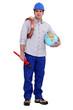 Plumber holding a globe