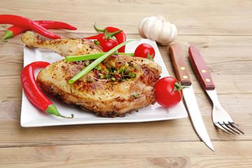 grilled meat : quarter chicken