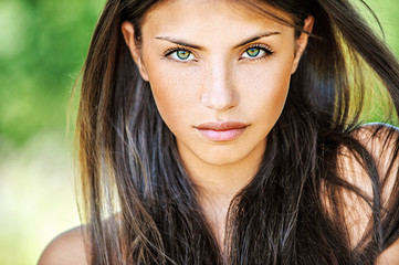 Close up of young beautiful woman