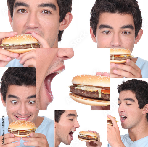 Young man eating a burger