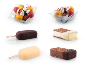 Set of Ice cream scoops , stick & biscuit isolated on white